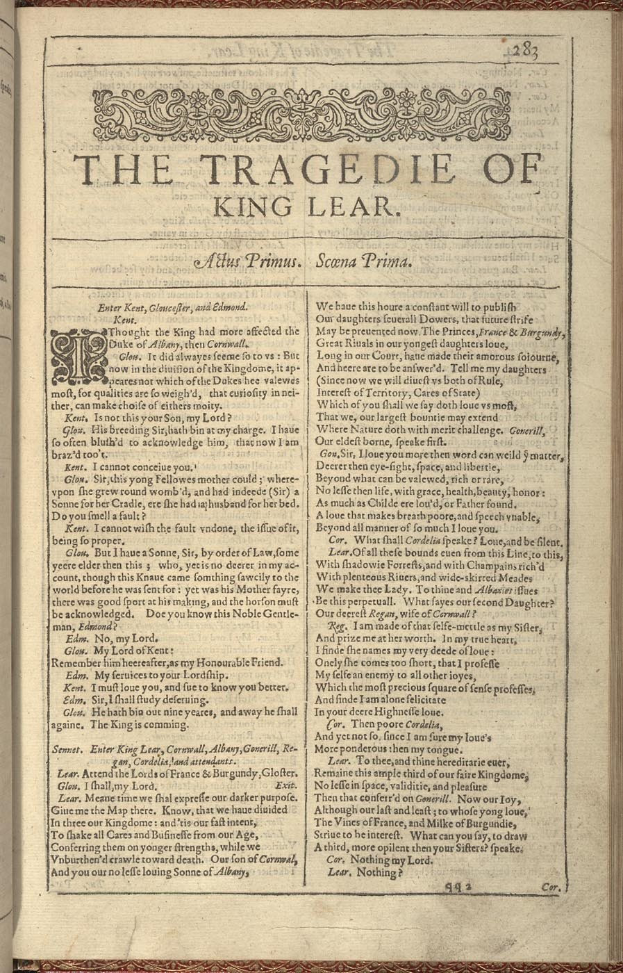 essay of king lear King lear is first presented in the first scene as an egocentric man who is ignorant of the many flaws in his personality lear has formed himself a personality and.